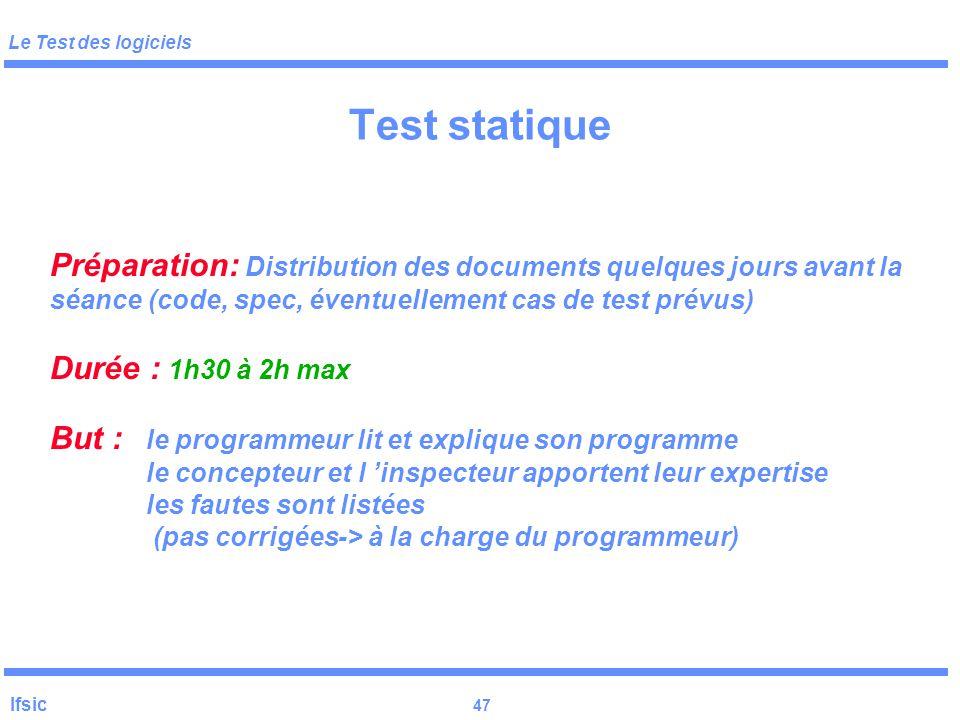 Test statique Préparation: Distribution des documents quelques jours avant la séance (code, spec, éventuellement cas de test prévus)