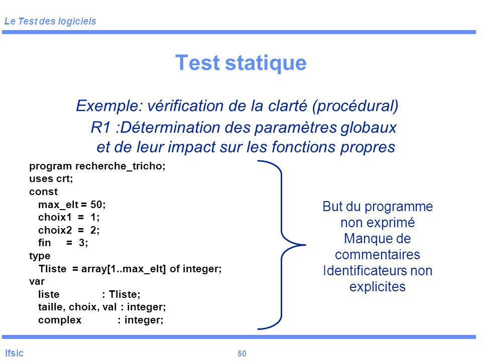 Test statique Exemple: vérification de la clarté (procédural)