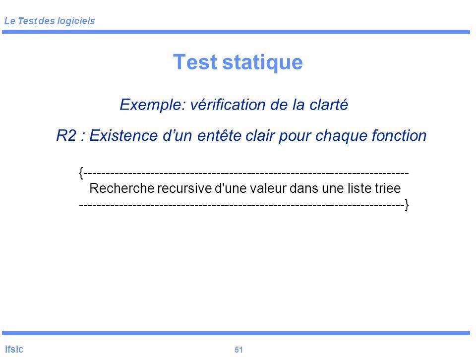 Test statique Exemple: vérification de la clarté