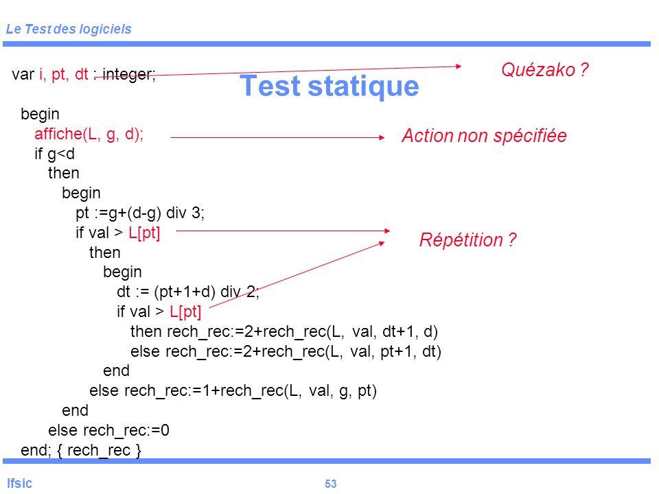 Test statique Quézako Action non spécifiée Répétition