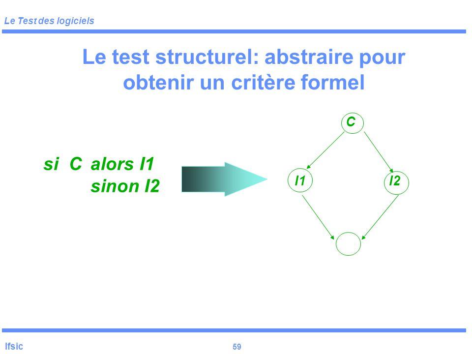 Le test structurel: abstraire pour obtenir un critère formel
