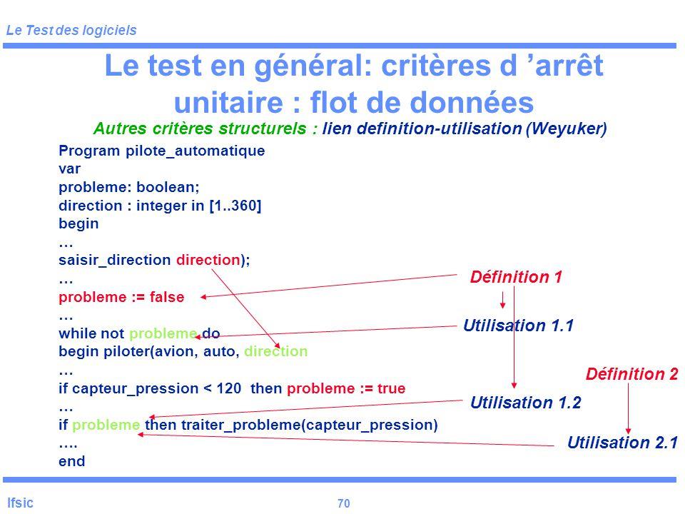 Le test en général: critères d 'arrêt unitaire : flot de données