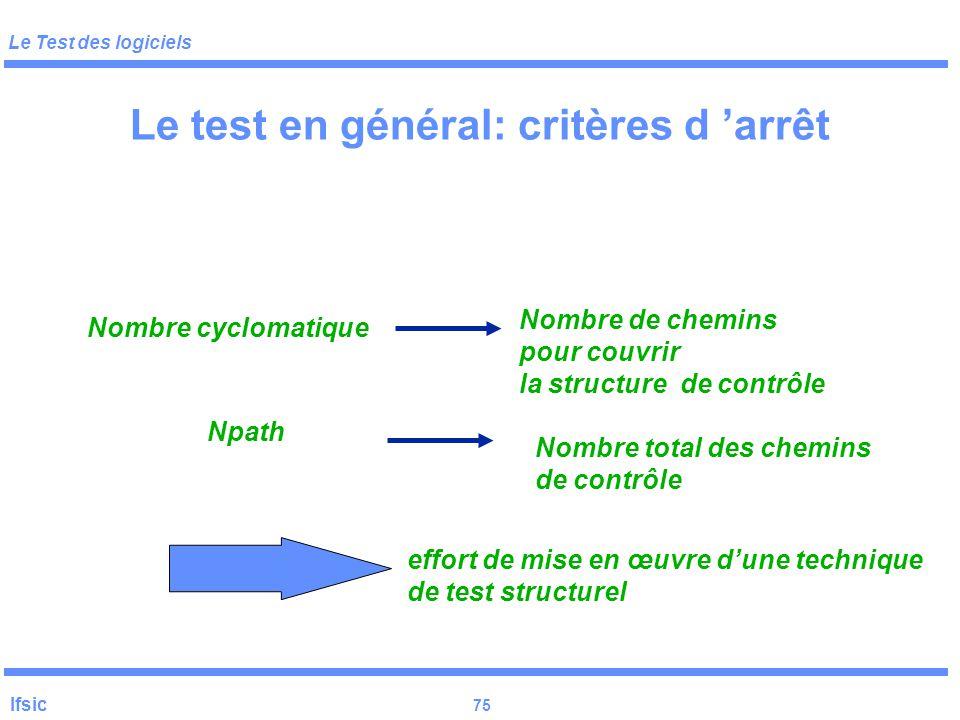 Le test en général: critères d 'arrêt