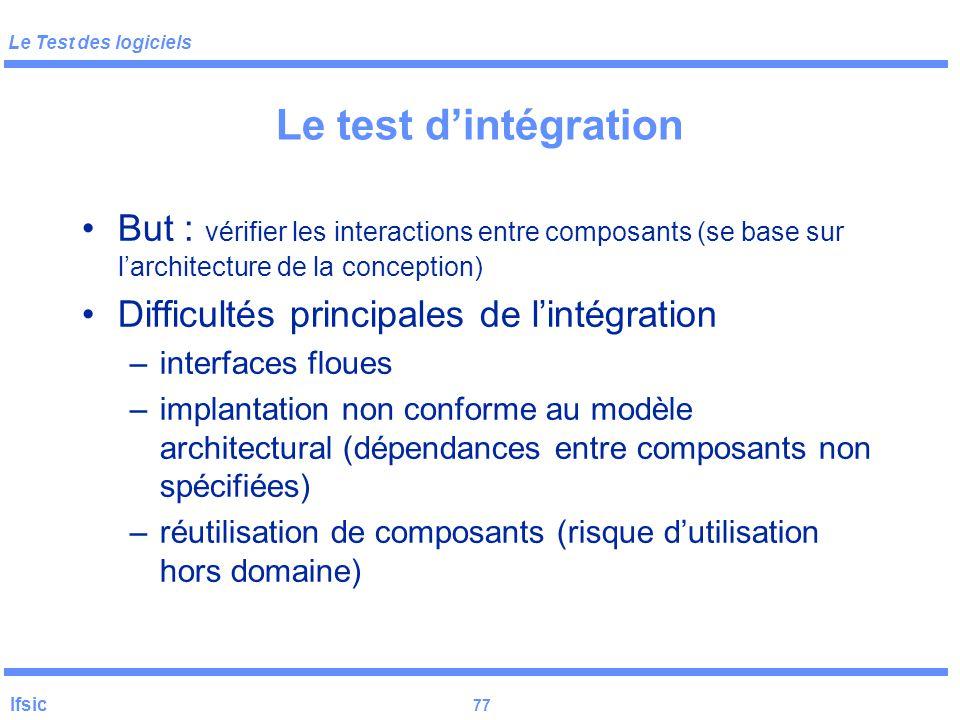 Le test d'intégration But : vérifier les interactions entre composants (se base sur l'architecture de la conception)