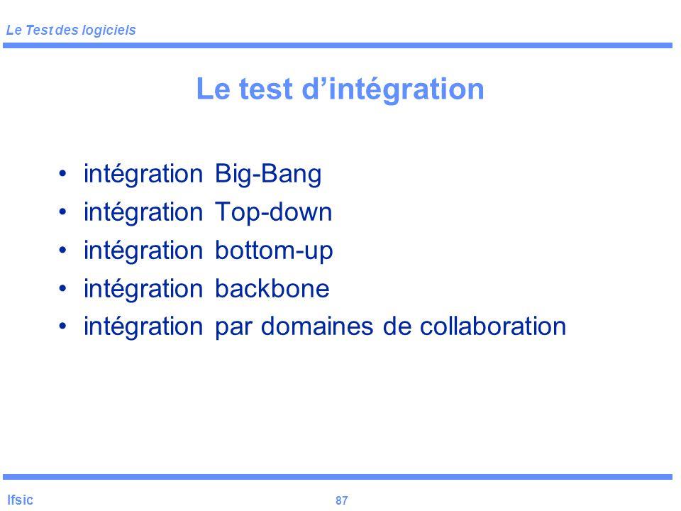 Le test d'intégration intégration Big-Bang intégration Top-down