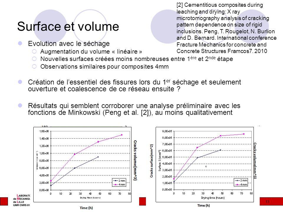 Surface et volume Evolution avec le séchage