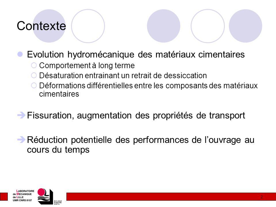 Contexte Evolution hydromécanique des matériaux cimentaires