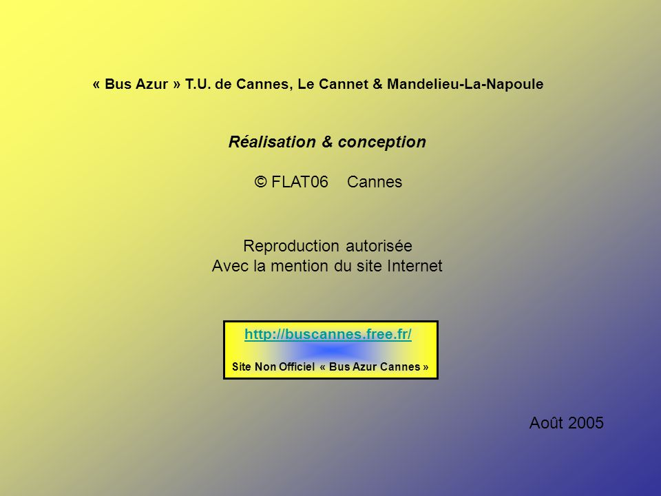 Réalisation & conception Site Non Officiel « Bus Azur Cannes »
