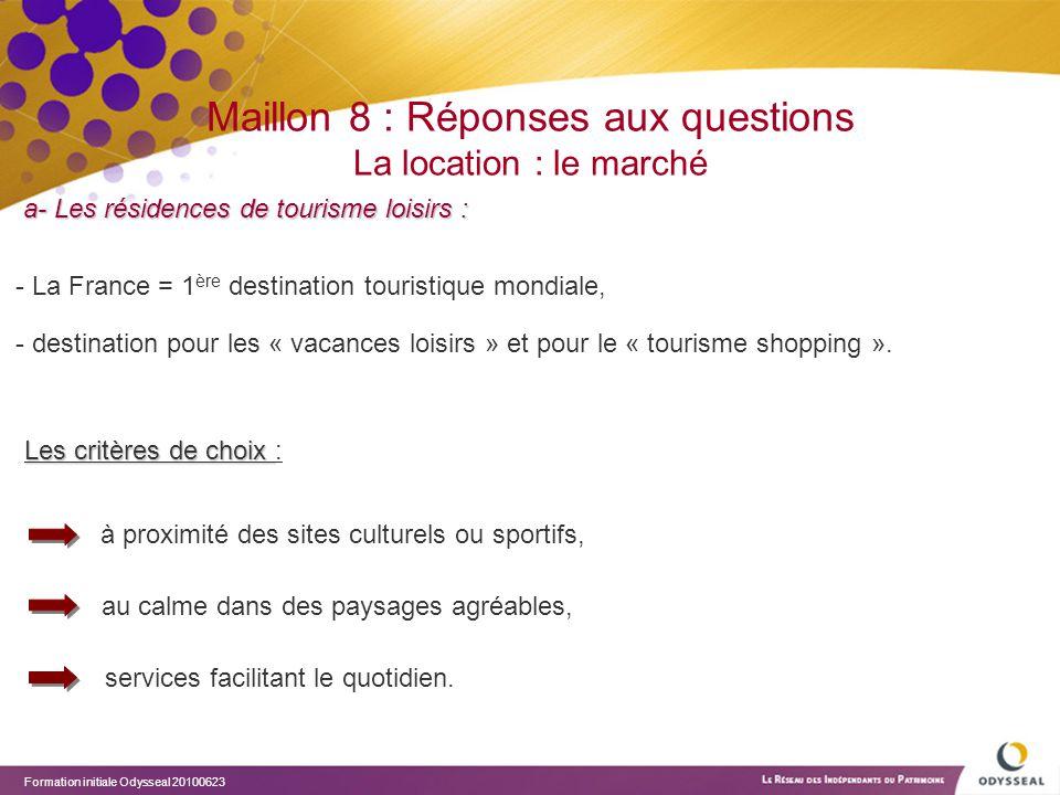 Maillon 8 : Réponses aux questions La location : le marché