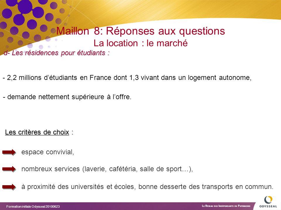 Maillon 8: Réponses aux questions La location : le marché