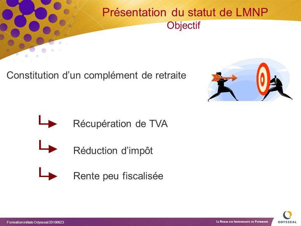 Présentation du statut de LMNP Objectif