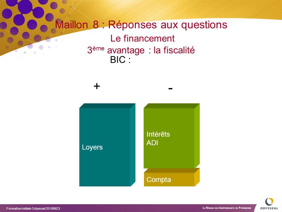 Maillon 8 : Réponses aux questions Le financement 3ème avantage : la fiscalité