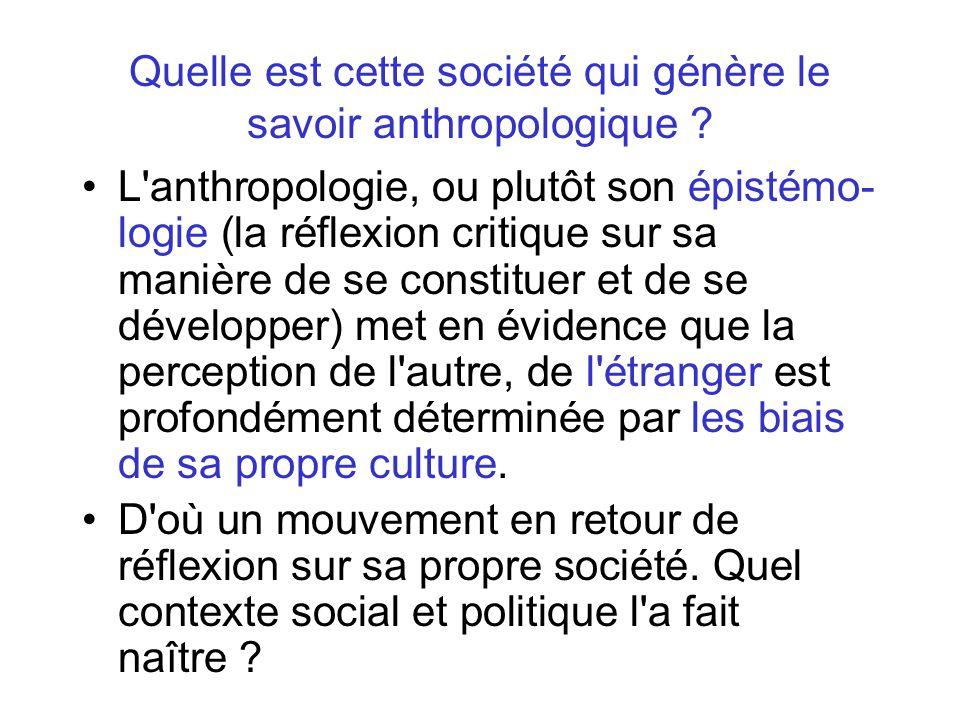 Quelle est cette société qui génère le savoir anthropologique