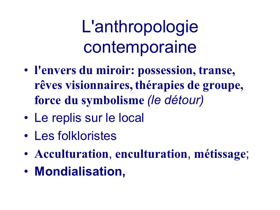 L anthropologie contemporaine