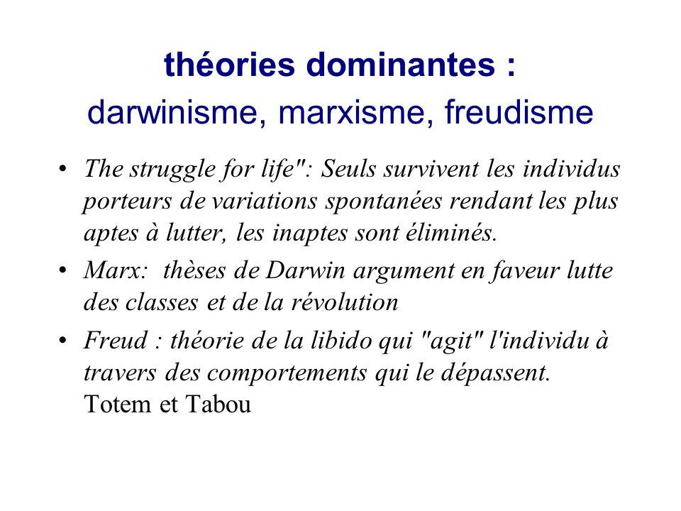 théories dominantes : darwinisme, marxisme, freudisme