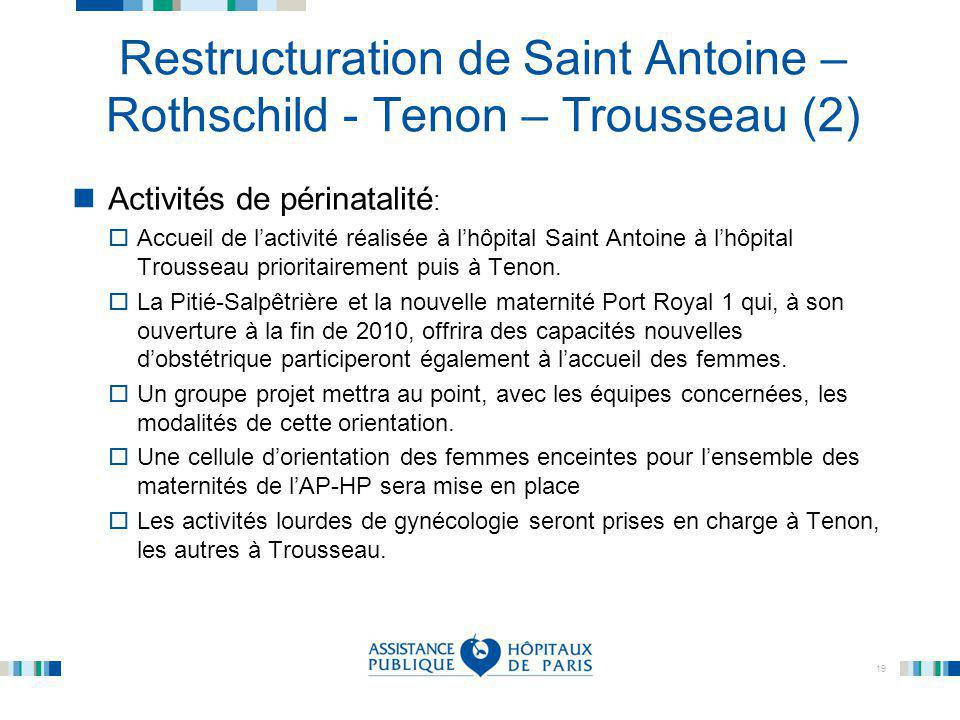 Restructuration de Saint Antoine – Rothschild - Tenon – Trousseau (2)