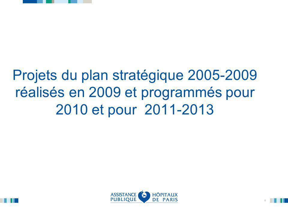 Projets du plan stratégique 2005-2009 réalisés en 2009 et programmés pour 2010 et pour 2011-2013