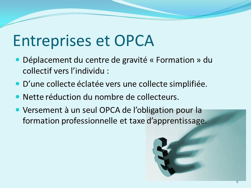 Entreprises et OPCA Déplacement du centre de gravité « Formation » du collectif vers l'individu :