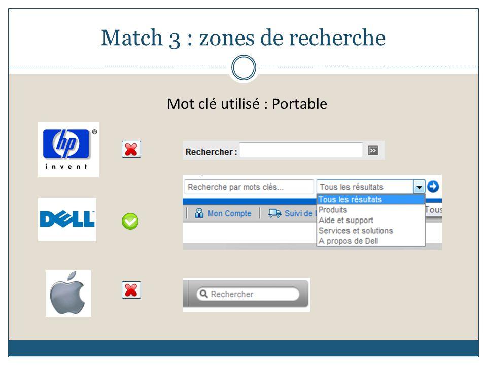 Match 3 : zones de recherche