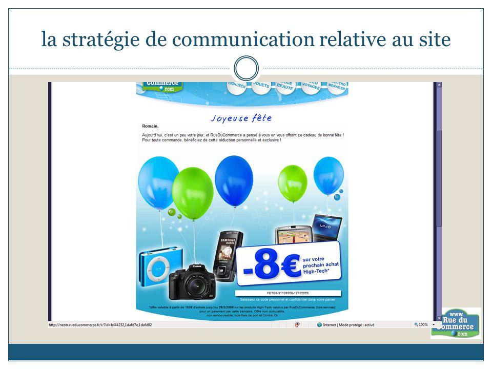la stratégie de communication relative au site