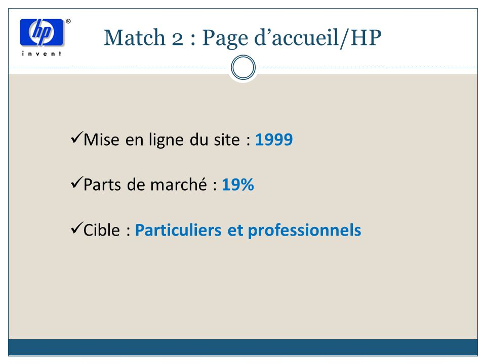 Match 2 : Page d'accueil/HP
