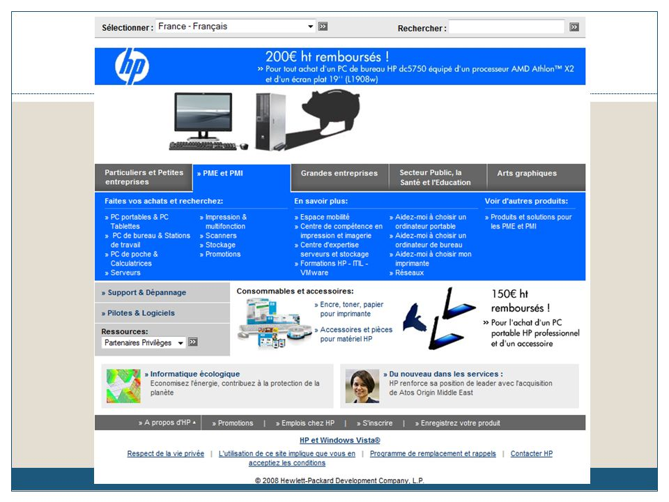 Presentation HP en general, part de marché, cible (magasiin, internet,….