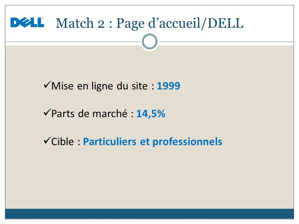Match 2 : Page d'accueil/DELL