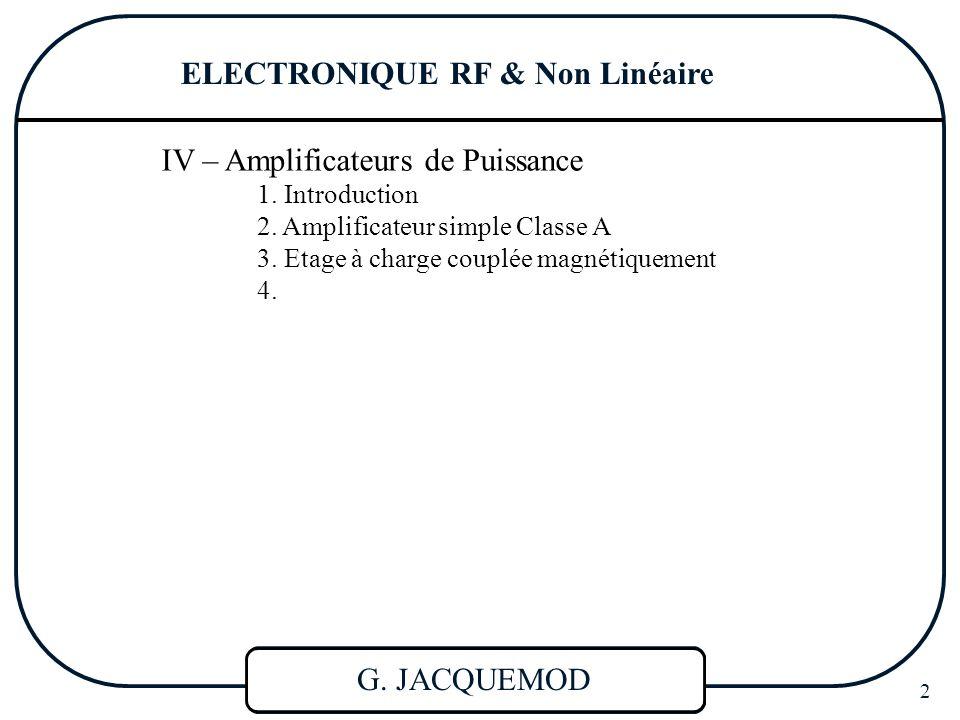ELECTRONIQUE RF & Non Linéaire