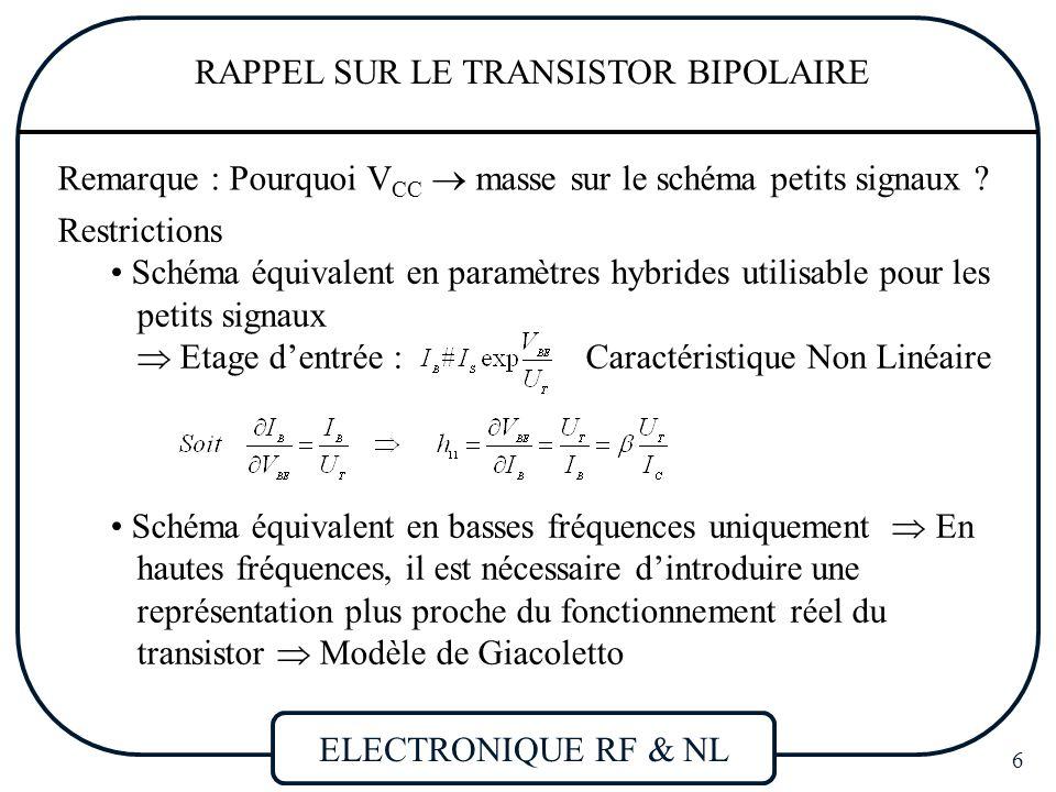 RAPPEL SUR LE TRANSISTOR BIPOLAIRE