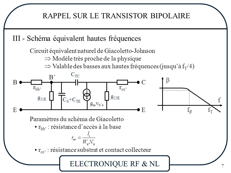 Electronique rf non lin aire ppt t l charger for Le transistor