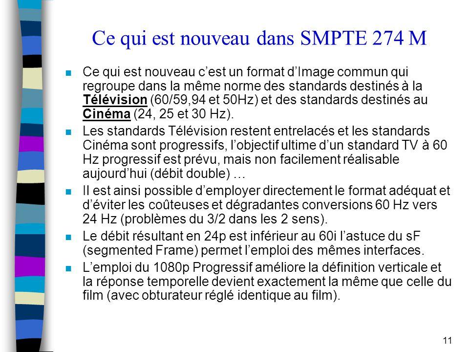 Ce qui est nouveau dans SMPTE 274 M