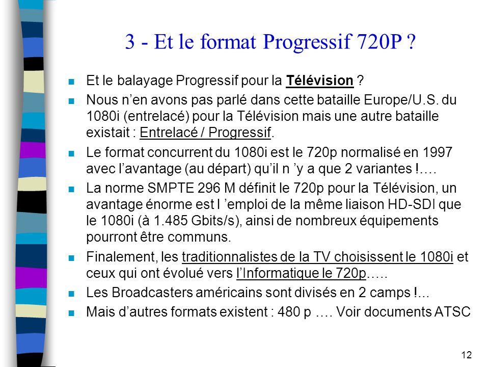 3 - Et le format Progressif 720P