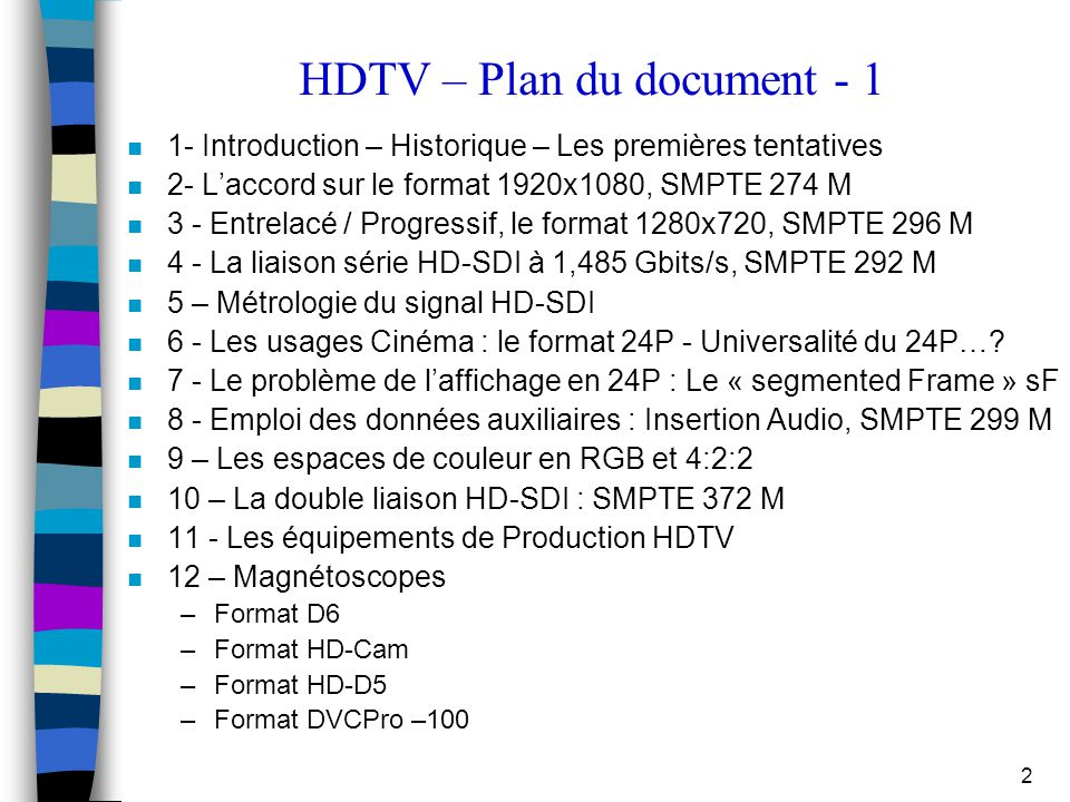 HDTV – Plan du document - 1