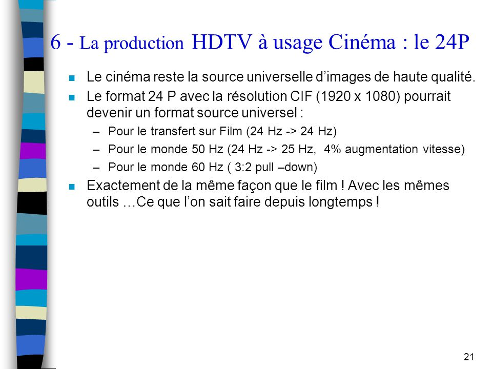 6 - La production HDTV à usage Cinéma : le 24P