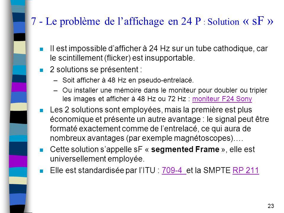 7 - Le problème de l'affichage en 24 P : Solution « sF »