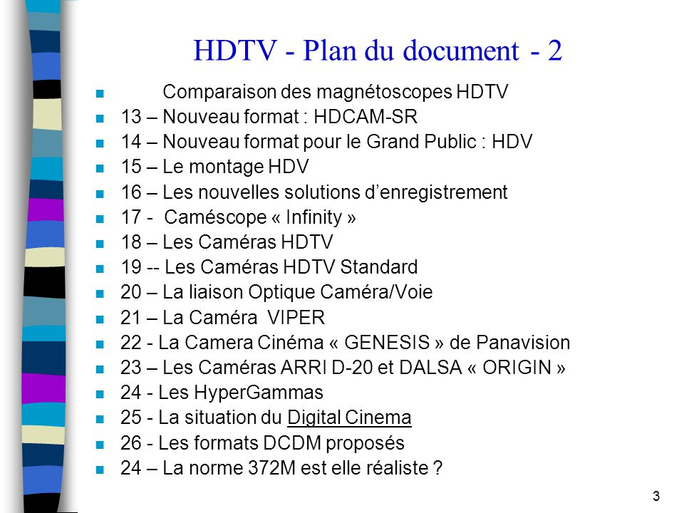 HDTV - Plan du document - 2