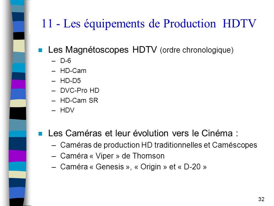 11 - Les équipements de Production HDTV