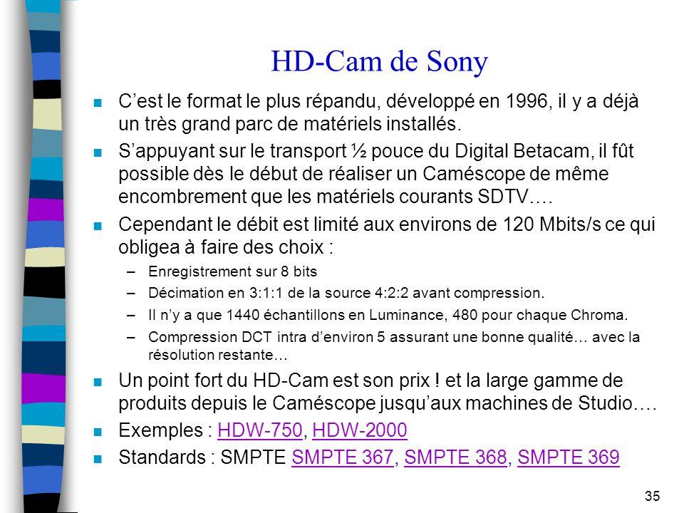 HD-Cam de Sony C'est le format le plus répandu, développé en 1996, il y a déjà un très grand parc de matériels installés.