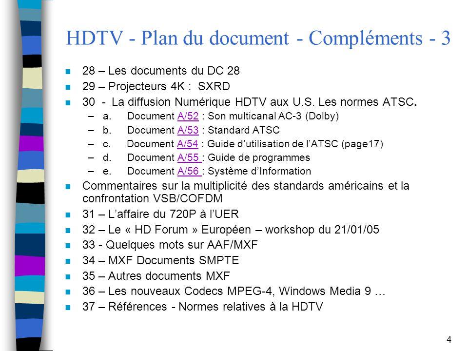 HDTV - Plan du document - Compléments - 3