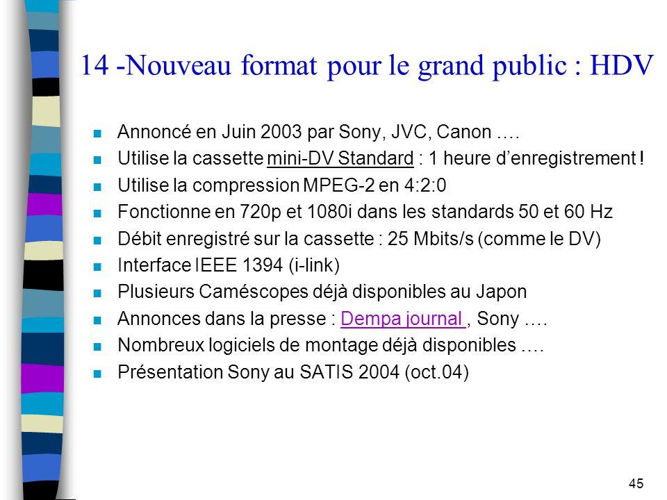 14 -Nouveau format pour le grand public : HDV