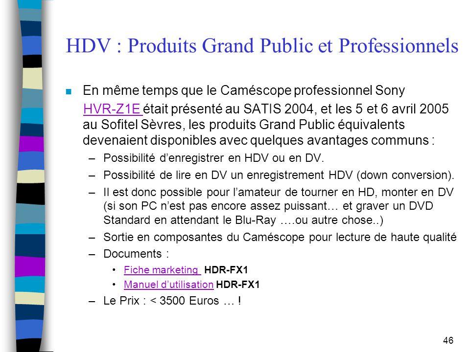 HDV : Produits Grand Public et Professionnels