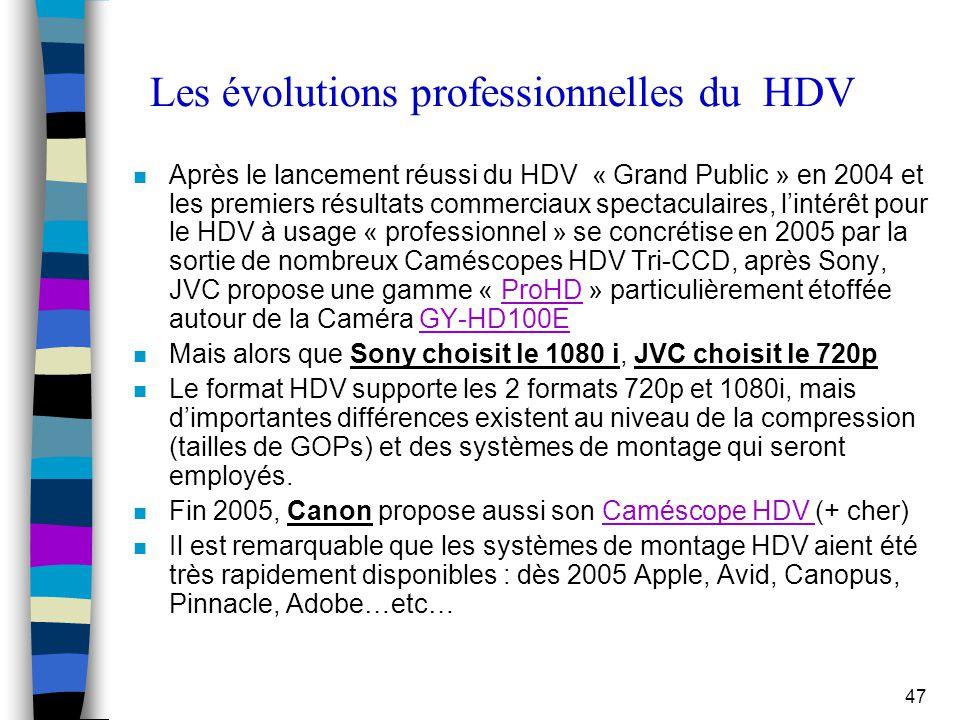 Les évolutions professionnelles du HDV