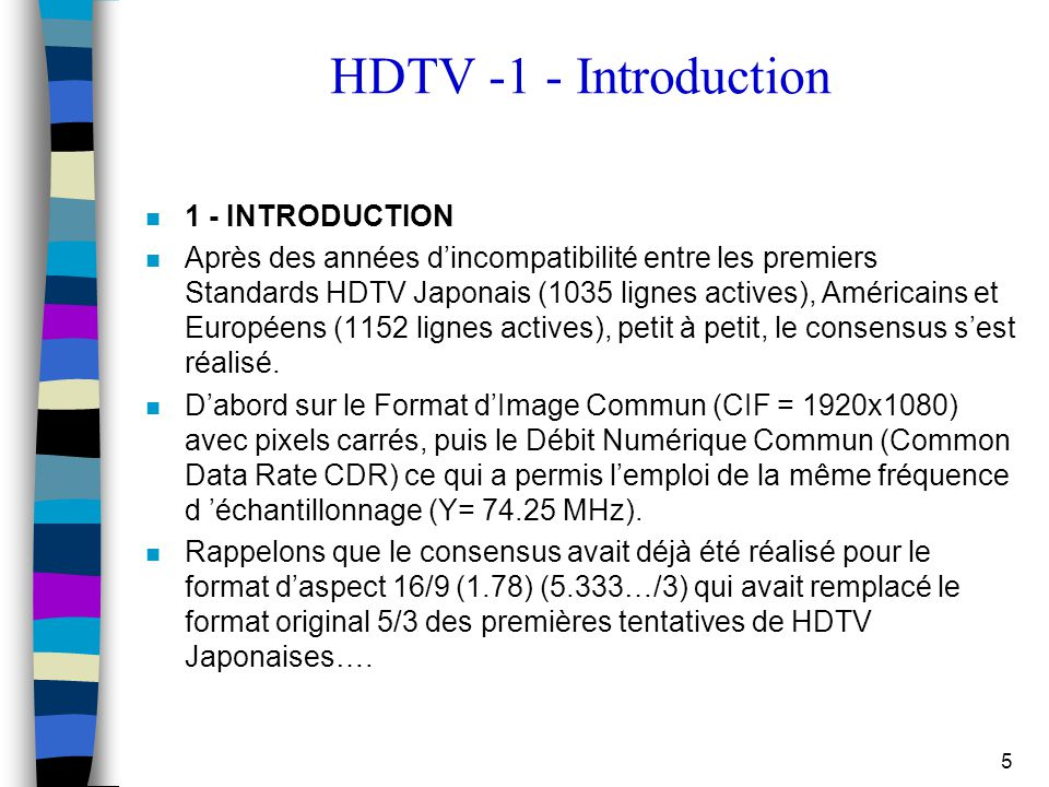 HDTV -1 - Introduction 1 - INTRODUCTION