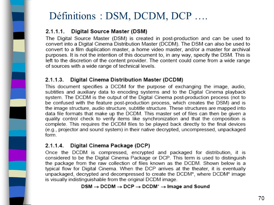 Définitions : DSM, DCDM, DCP ….
