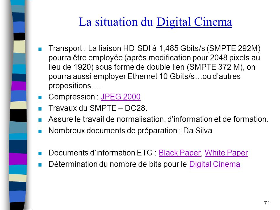 La situation du Digital Cinema