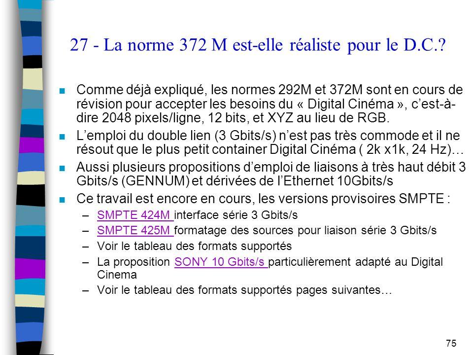 27 - La norme 372 M est-elle réaliste pour le D.C.