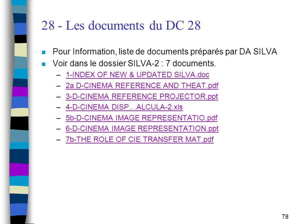 28 - Les documents du DC 28 Pour Information, liste de documents préparés par DA SILVA. Voir dans le dossier SILVA-2 : 7 documents.