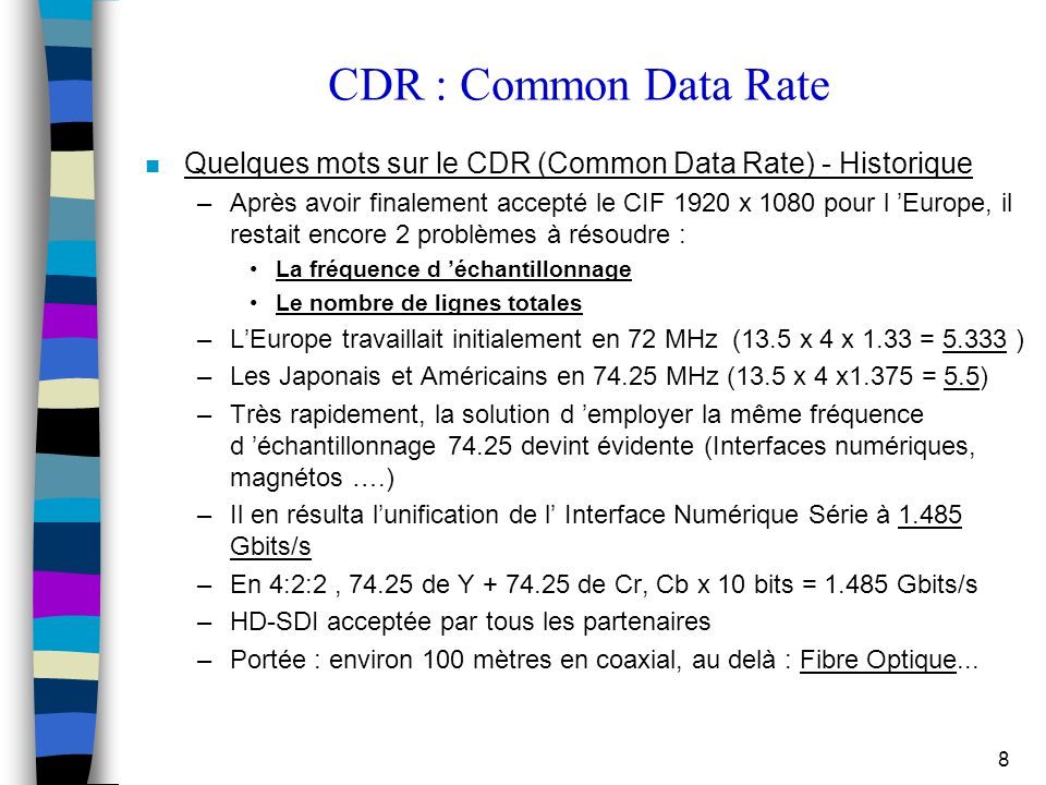 CDR : Common Data Rate Quelques mots sur le CDR (Common Data Rate) - Historique.