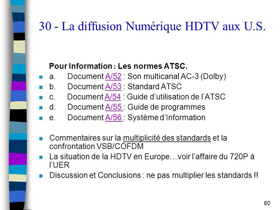 30 - La diffusion Numérique HDTV aux U.S.