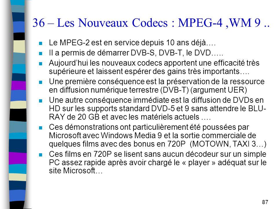 36 – Les Nouveaux Codecs : MPEG-4 ,WM 9 ..